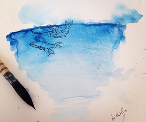 blue, drawing, and ocean image