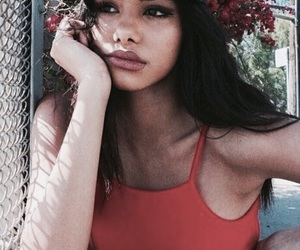 girl, beauty, and red image