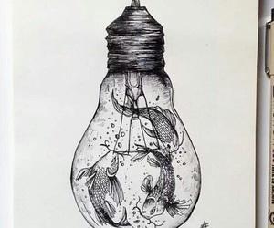 art, drawing, and fish image