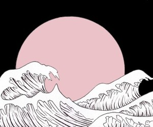 pink, art, and waves image