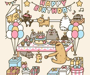 cats, happy birthday, and wallpaper image
