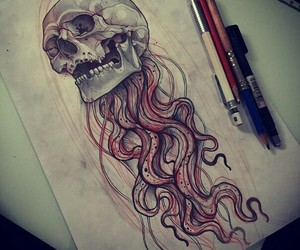 art, color, and skull image