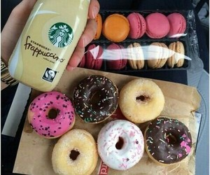 coffe, donuts, and yummy image