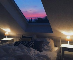 room, bedroom, and sky image