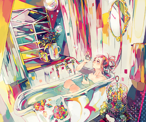 anime, anime girl, and colorful image