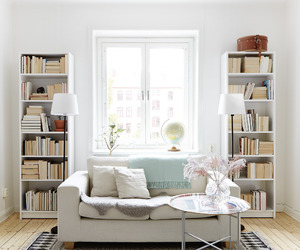 bookcase, books, and decoration image