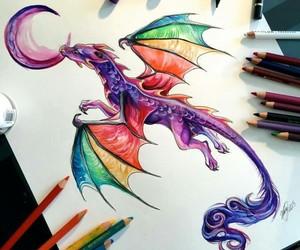 dragon, art, and colors image