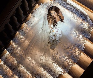 bride, wedding, and dress image