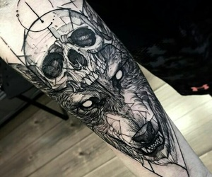 tattoo, wolf, and skull image