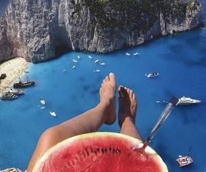 summer, beach, and watermelon image