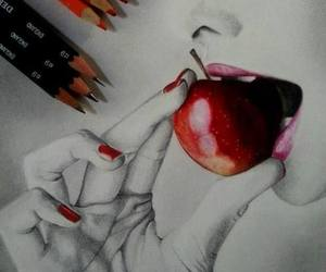 drawing, art, and apple image