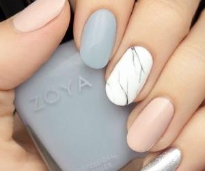 nails, grey, and pink image