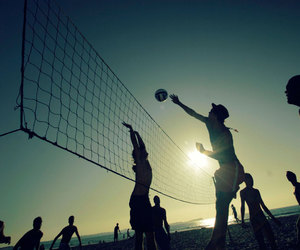 volleyball, love, and beach image