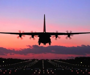 airplane, amazing, and atardecer image