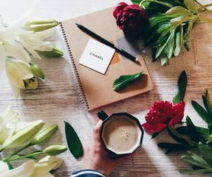 chanel, coffe, and flowers image