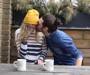 cold, couple, and sweet kiss image