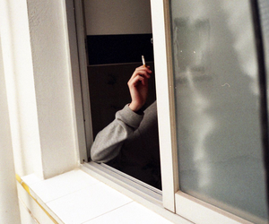 smoke, cigarette, and window image