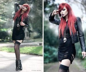 red hair, black, and alternative image