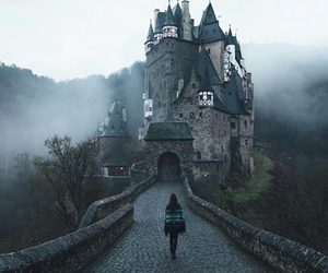 girl, castle, and fog image