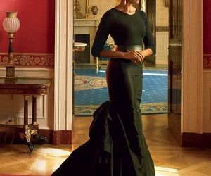 michelle, michelle obama, and green gown image
