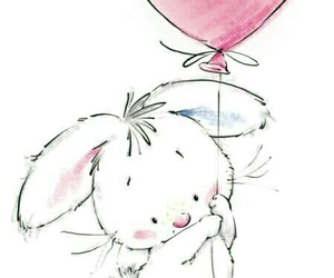 rabbit, background, and heart image