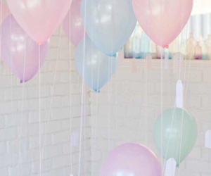 aesthetic, ballons, and blue image