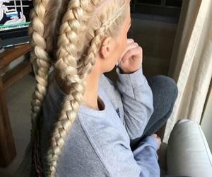 femenino, trenzas, and cabello image
