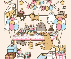 cats, gif, and happy birthday image