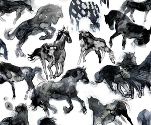 black, drawing, and horse image