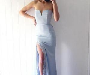 mermaid prom dress, chic prom dress, and light blue prom dress image