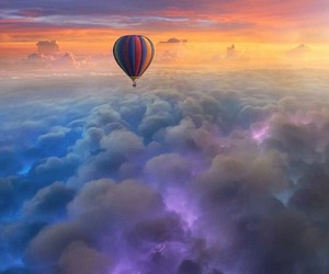 clouds, sky, and balloons image