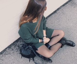 boots, fashion, and fishnet tights image