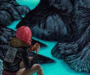 art, girl, and mountains image