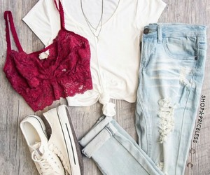 white converse, white crop t-shirts, and layered necklaces image