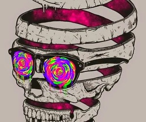 skull, colors, and cool image