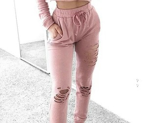 white sneakers, pink sweatpants, and pink crop hoodie image