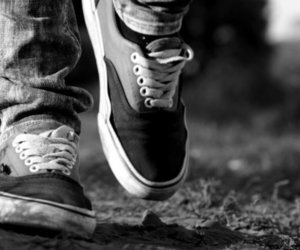 vans and black and white image