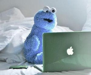 apple, cookie monster, and monster image