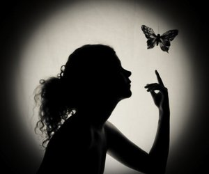 girl, black and white, and butterfly image