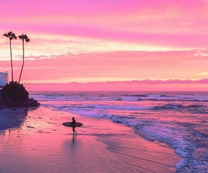 beach, pink, and sunset image