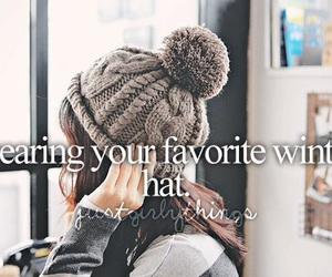 hat, winter, and quote image