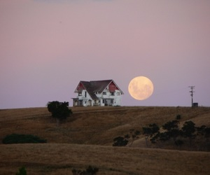 hill, house, and moon image