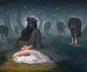 art, fantasy, and wolves image