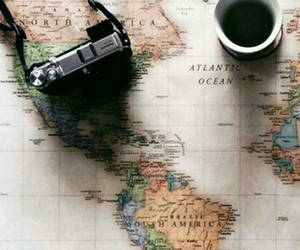 travel, map, and coffee image