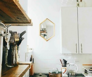 brown, kitchen, and shelves image