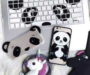 panda, iphone, and phone image