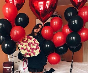flowers, balloons, and black image