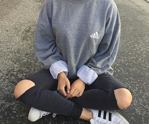 adidas, jeans, and grey image
