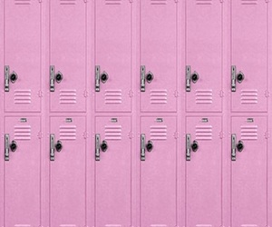 school, lockers, and pink image