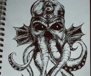 art, black and white, and cthulhu image